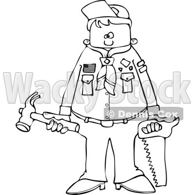Cartoon of an Outlined Scout Boy Holding Tools - Royalty Free Vector Clipart © djart #1186284