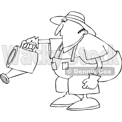 Cartoon of an Outlined Chubby Man Bending over to Water a Garden - Royalty Free Vector Clipart © djart #1187362