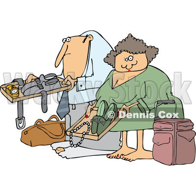 Cartoon of a Traveling Couple Going Through Airport Security TSA - Royalty Free Vector Clipart © djart #1187900