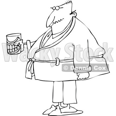 Cartoon of an Outlined Senior Man with a Cane and Teeth in a Glass - Royalty Free Vector Clipart © djart #1189056