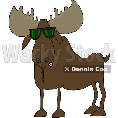 Cartoon of a Cool Moose Wearing Sunglasses - Royalty Free Vector Clipart © djart #1195063