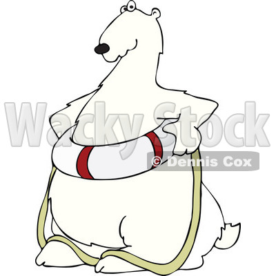 Cartoon of a Poar Bear Wearing a Life Preserver Buoy - Royalty Free Vector Clipart © djart #1196163