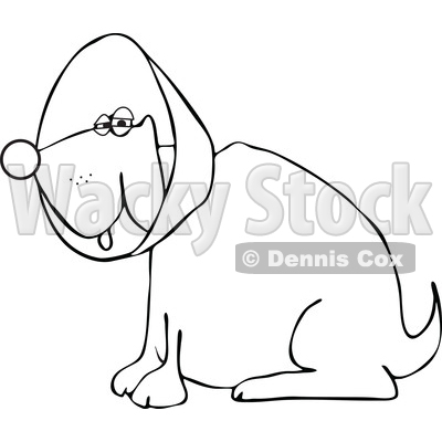 Cartoon of an Outlined Dog Wearing an Elizabethan Colar Cone - Royalty Free Vector Clipart © djart #1196947