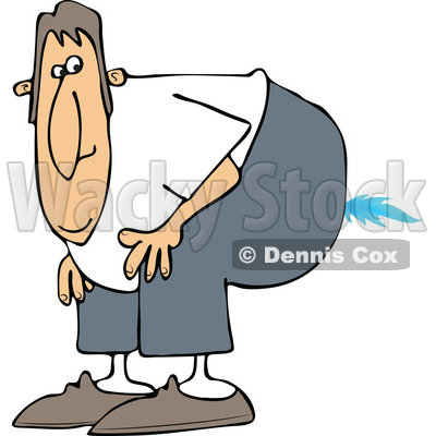 Cartoon of a Farting Man Bending over with a Flame - Royalty Free Vector Clipart © djart #1197918