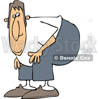 cartoon of a man bending over with fart clouds royalty free vector rh wackystock com fart clip art free fat clipart