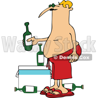 Cartoon of a Man in Red Swim Trunks, Holding a Beer over a Cooler - Royalty Free Vector Clipart © djart #1197920