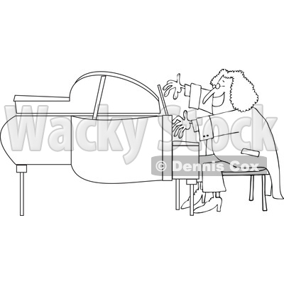 Cartoon of an Outlined Classical Music Composer Playing a Piano - Royalty Free Vector Clipart © djart #1197988