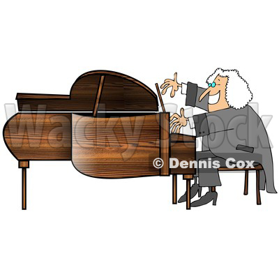 Cartoon of a Happy Smiling Classical Music Composer Playing a Piano - Royalty Free Clipart © djart #1197989