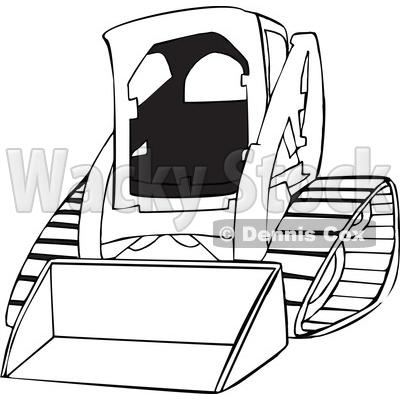 Cartoon Of An Outlined Bobcat Skid Steer Loader Royalty