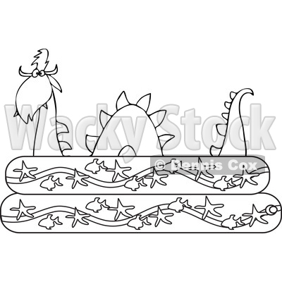 Clipart of an Outlined Loch Ness Monster Plesiosaur Dinosaur in a Kiddie Swimming Pool - Royalty Free Vector Illustration © djart #1200767