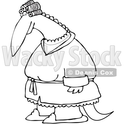 Clipart of an Outlined Female Dinosaur in Curlers and a Robe - Royalty Free Vector Illustration © djart #1200769