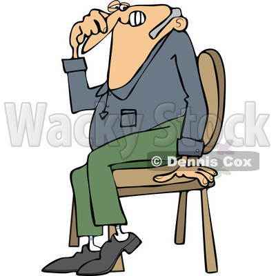 Cartoon of a Farting Guy Sitting in a Chair and Passing Gass - Royalty Free Vector Clipart © djart #1200772