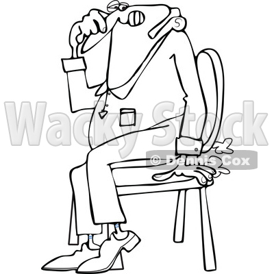 Cartoon of an Outlined Farting Man Sitting in a Chair and Passing Gass - Royalty Free Vector Clipart © djart #1200773