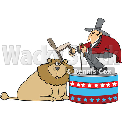 Cartoon of a Circus Tamer Holding a Chair and Whip over a Lion - Royalty Free Vector Clipart © djart #1201671
