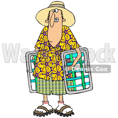 Cartoon of a White Man in a Hawaiian Shirt, Carrying Lawn Chairs - Royalty Free Clipart © djart #1203372
