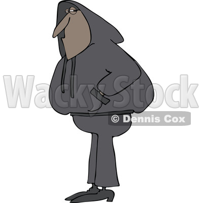 Cartoon of a Black Man Wearing a Hoodie Sweater - Royalty Free Vector Clipart © djart #1203373