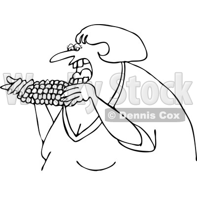 Cartoon of an Outlined Woman Eating Corn - Royalty Free Vector Clipart © djart #1206357