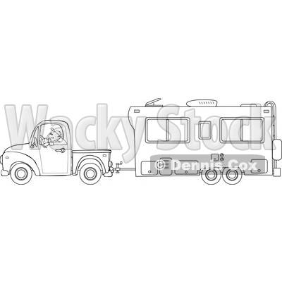 Cartoon of an Outlined Man Driving a Pickup Truck and Hauling a Camper Trailer - Royalty Free Vector Clipart © djart #1206724