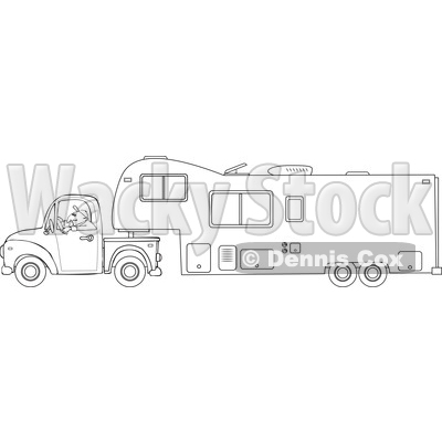 Cartoon of an Outlined Man Driving a Pickup Truck and Hauling a Camper Fifth Wheel Trailer - Royalty Free Vector Clipart © djart #1206726