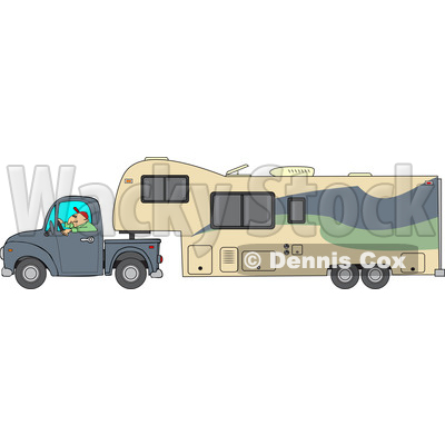 Cartoon of a Man Driving a Pickup Truck and Hauling a Camper Fifth ...