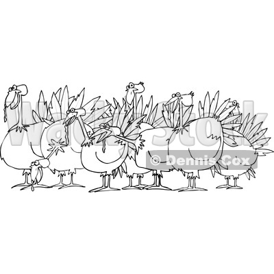Cartoon of an Outlined Flock of Turkeys - Royalty Free Vector Clipart © djart #1208659