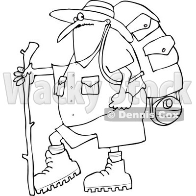 Cartoon Of An Outlined Chubby Man In Hiking Gear Holding A Stick