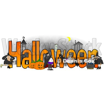 Cartoon of a Vampires Frankenstein and Witches Around the Word HALLOWEEN - Royalty Free Clipart © djart #1213922