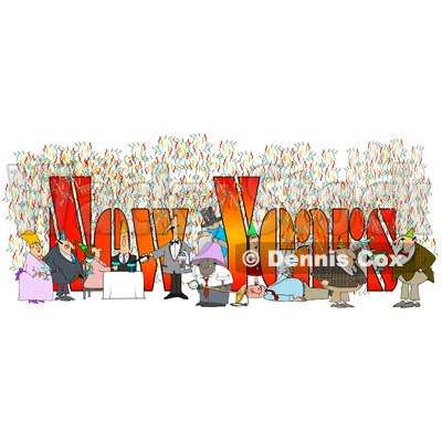 Clipart of People Having Fun at a New Year Party with Text - Royalty Free Illustration © djart #1214845