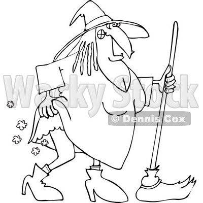 Clipart of an Outlined Witch Lifting Her Dress and Farting - Royalty Free Vector Illustration © djart #1215429