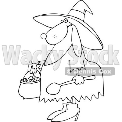 Clipart of an Outlined Halloween Dog Trick or Treating in a Witch Costume - Royalty Free Vector Illustration © djart #1215708