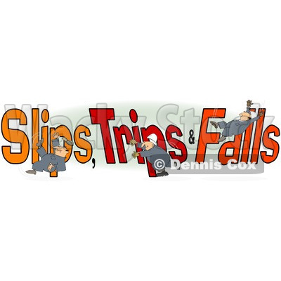 Clipart of a Slipping Tripping and Falling Man over Slips Trips and Falls Text over Green and White - Royalty Free Illustration © djart #1215711