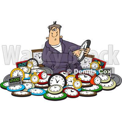 Clipart of a Man Adjusting Time in a Pile of Clocks - Royalty Free Vector Illustration © djart #1218192