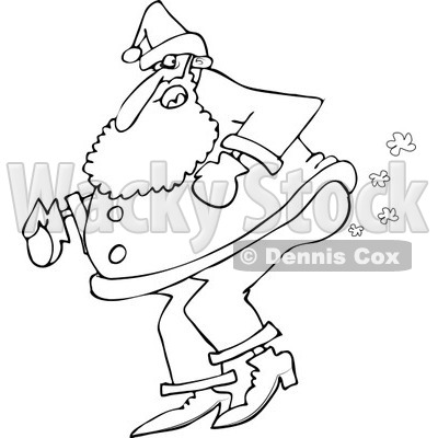 Clipart of an Outlined Santa Farting - Royalty Free Vector Illustration © djart #1219037