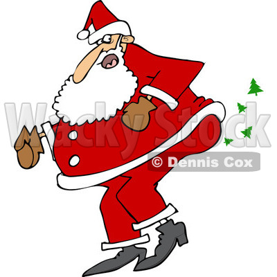 Clipart of Santa Farting Christmas Trees - Royalty Free Vector Illustration © Dennis Cox #1219046
