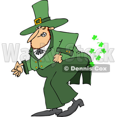 Clipart of a St Patricks Day Leprechaun Farting Shamrocks - Royalty Free Vector Illustration © Dennis Cox #1219752