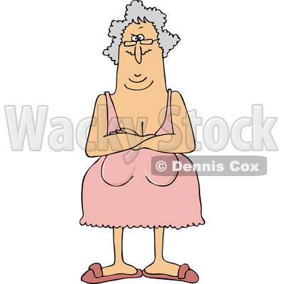 Clipart of a Senior Woman with Her Breasts Hanging Low - Royalty Free Vector Illustration © djart #1221477