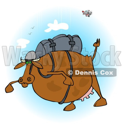 Clipart of a Fat Cow Skydiving - Royalty Free Illustration © djart #1222946