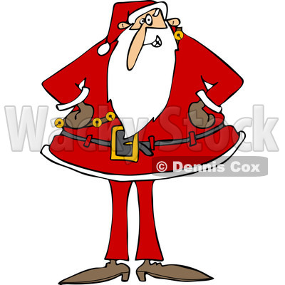 Clipart of Santa Standing with His Hands on His Hips - Royalty Free Vector Illustration © djart #1223247