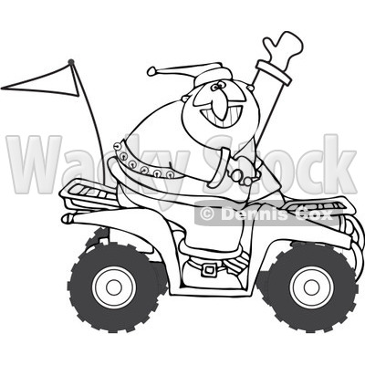 Clipart of an Outlined Santa Waving and Driving an Atv Mud Bug - Royalty Free Vector Illustration © djart #1223669