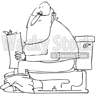 Clipart of an Outlined Santa Reading the Newspaper on a Toilet - Royalty Free Vector Illustration © djart #1223674