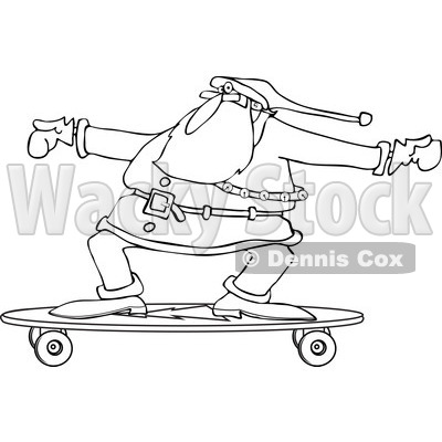 Clipart of an Outlined Santa Skateboarding on a Longboard - Royalty Free Vector Illustration © djart #1223675
