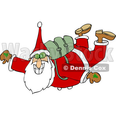 Clipart of Santa Free Falling While Skydiving - Royalty Free Vector Illustration © djart #1223677
