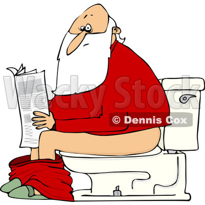 Clipart of Santa Reading the Newspaper on a Toilet - Royalty Free Vector Illustration © djart #1223682