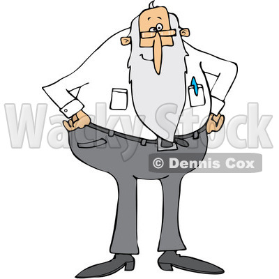 Clipart of a Stern Senior Man with a Beard, Standing with His Hands on His Hips - Royalty Free Vector Illustration © djart #1223828