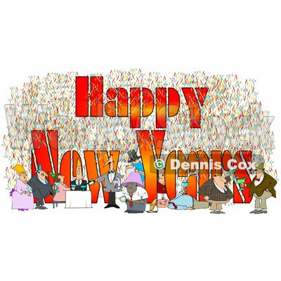Clipart of People Having Fun at a Party with Happy New Years Text - Royalty Free Illustration © djart #1223829