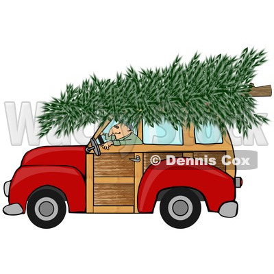 Clipart of a Man Driving a Red Woody Car with a Christmas Tree on the Roof - Royalty Free Illustration © djart #1223833
