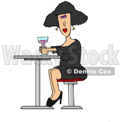 Clipart of a White Lady Drinking a Cocktail at a Table - Royalty Free Illustration © djart #1224157