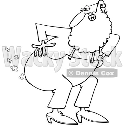 Clipart of an Outlined Santa Farting - Royalty Free Vector Illustration © djart #1224447