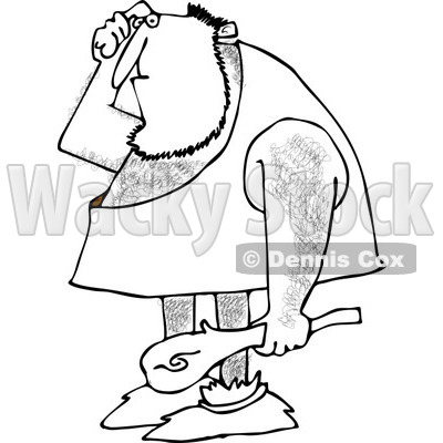 Clipart Of An Outlined Dumb Caveman Scratching His Head