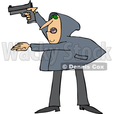 Clipart of an Armed Robber Man in a Hoodie - Royalty Free Vector Illustration © djart #1225229